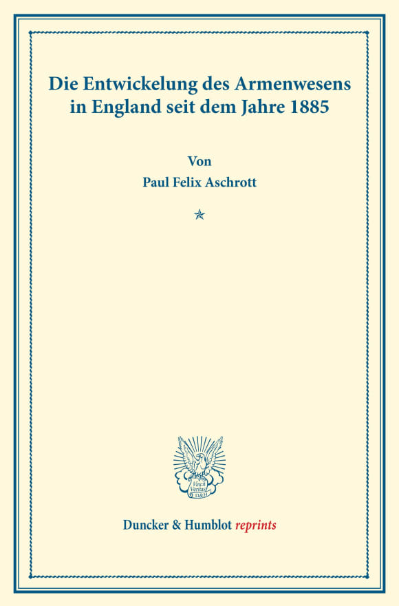 Cover Die Entwickelung des Armenwesens in England