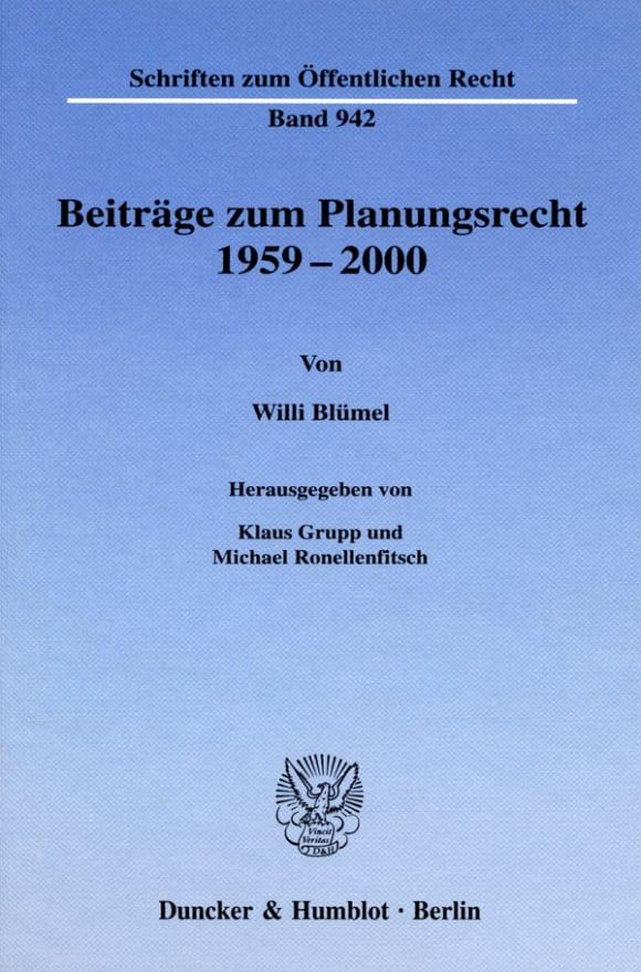Cover Beiträge zum Planungsrecht 1959–2000