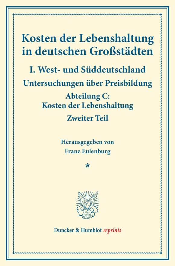 Cover Kosten der Lebenshaltung in deutschen Großstädten