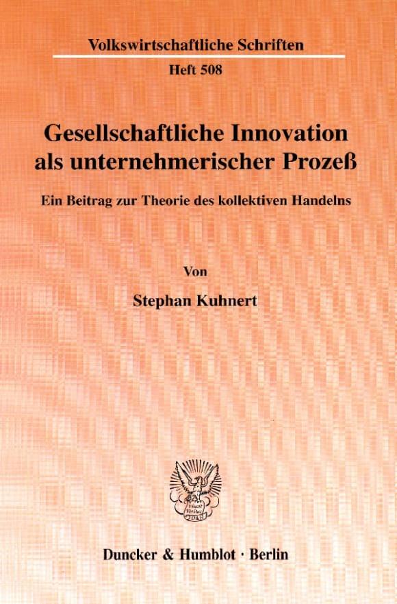 Cover Gesellschaftliche Innovation als unternehmerischer Prozeß