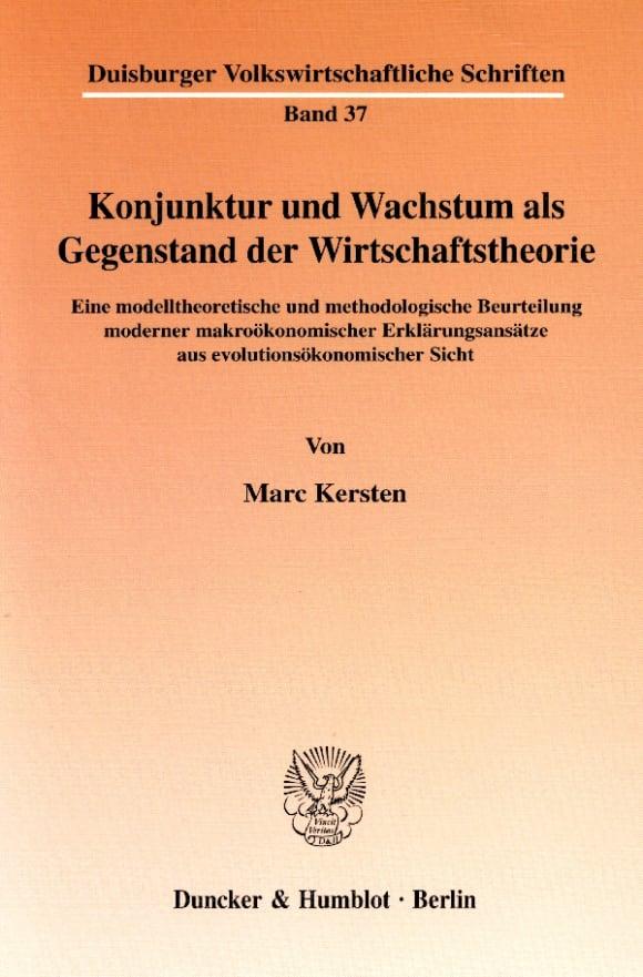 Cover Konjunktur und Wachstum als Gegenstand der Wirtschaftstheorie