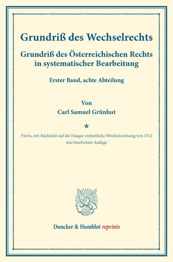 Cover Grundriß des Wechselrechts