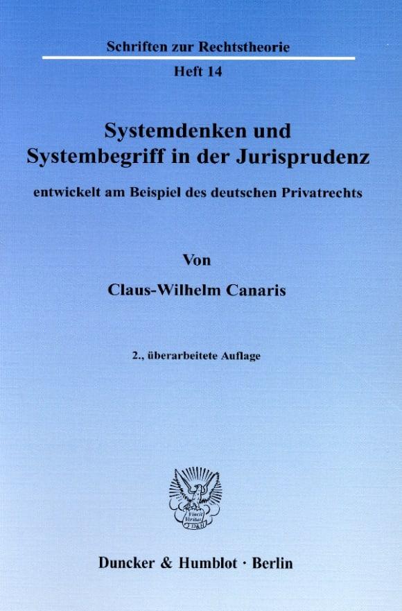 Cover Systemdenken und Systembegriff in der Jurisprudenz,