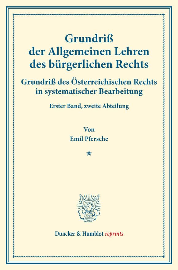 Cover Grundriß der Allgemeinen Lehren des bürgerlichen Rechts