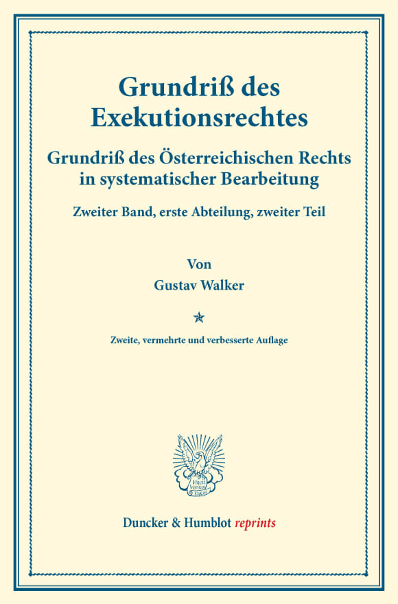 Cover Grundriß des Exekutionsrechtes