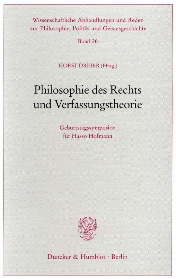 Cover Philosophie des Rechts und Verfassungstheorie