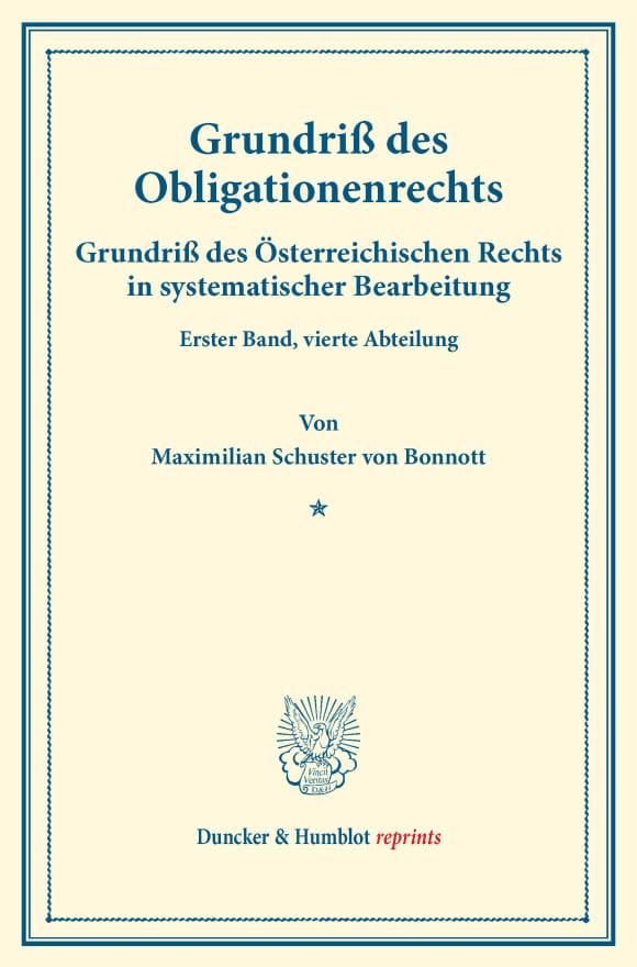 Cover Grundriß des Obligationenrechts