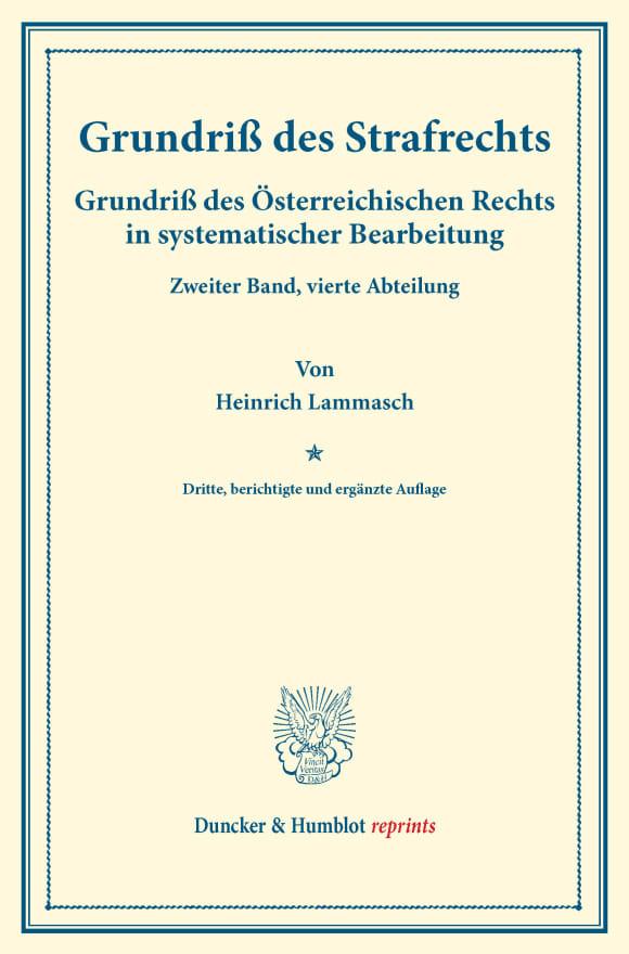 Cover Grundriß des Strafrechts