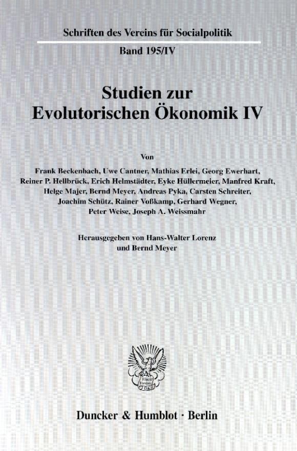 Cover Studien zur Evolutorischen Ökonomik IV