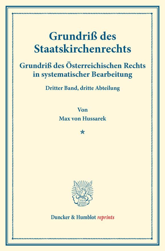 Cover Grundriß des Staatskirchenrechts