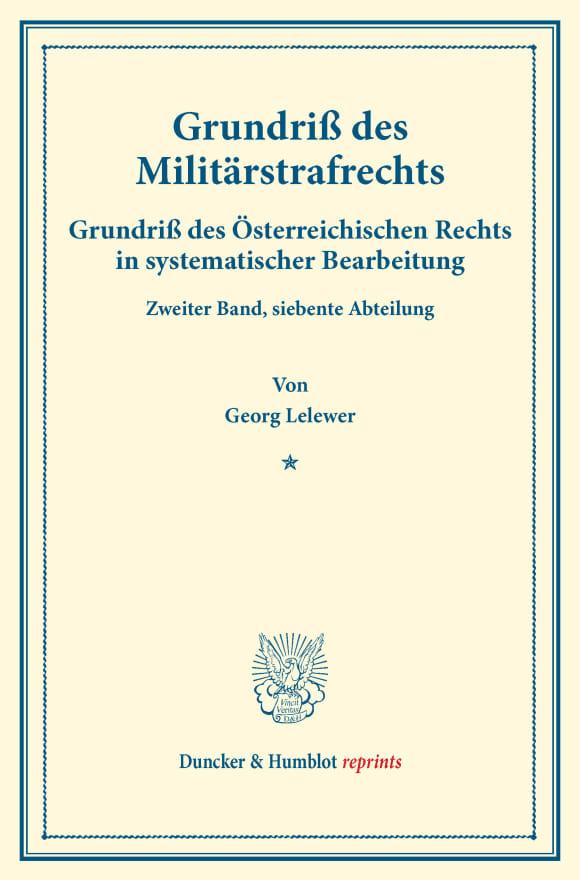 Cover Grundriß des Militärstrafrechts