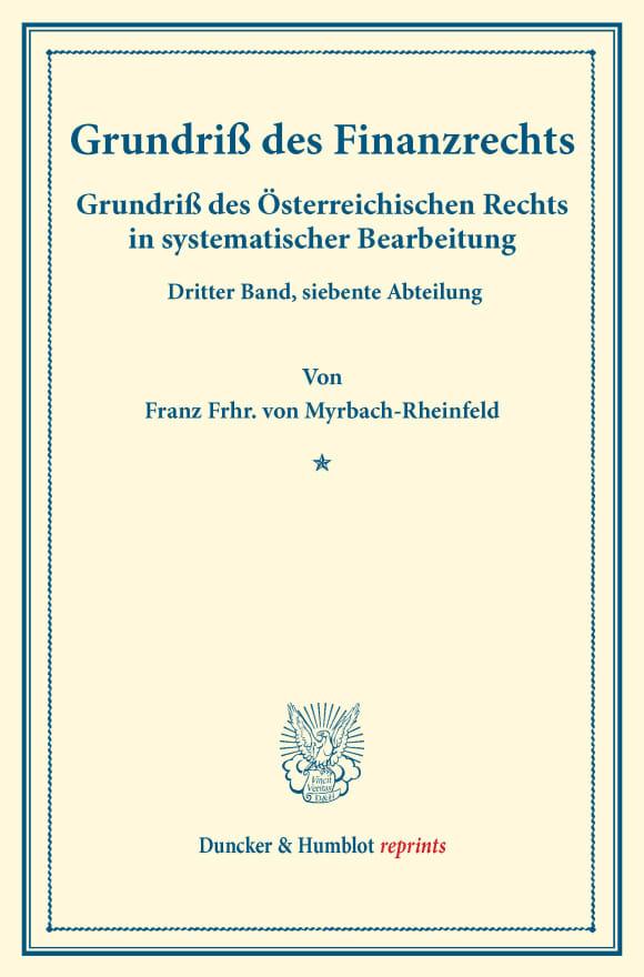 Cover Grundriß des Finanzrechts