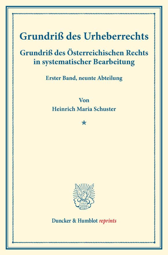 Cover Grundriß des Urheberrechts