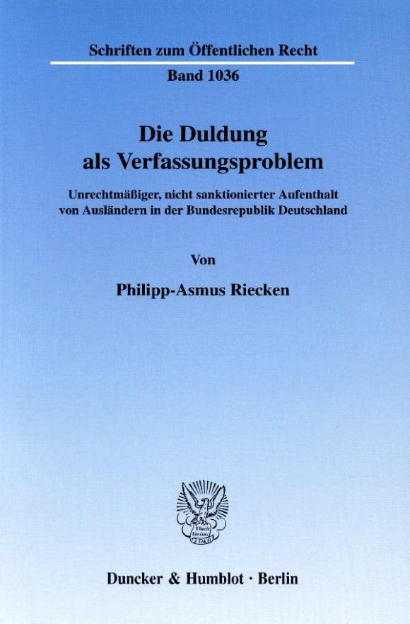Cover Die Duldung als Verfassungsproblem