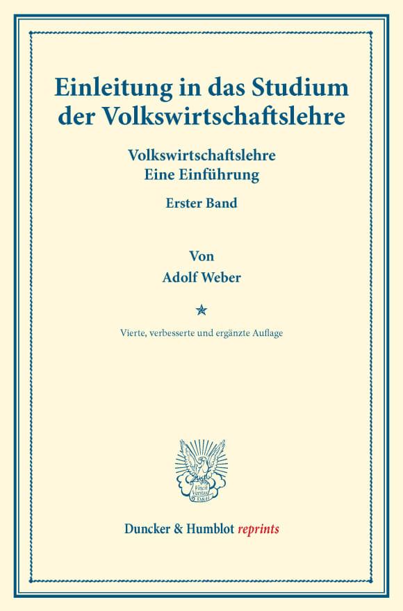 Cover Einleitung in das Studium der Volkswirtschaftslehre