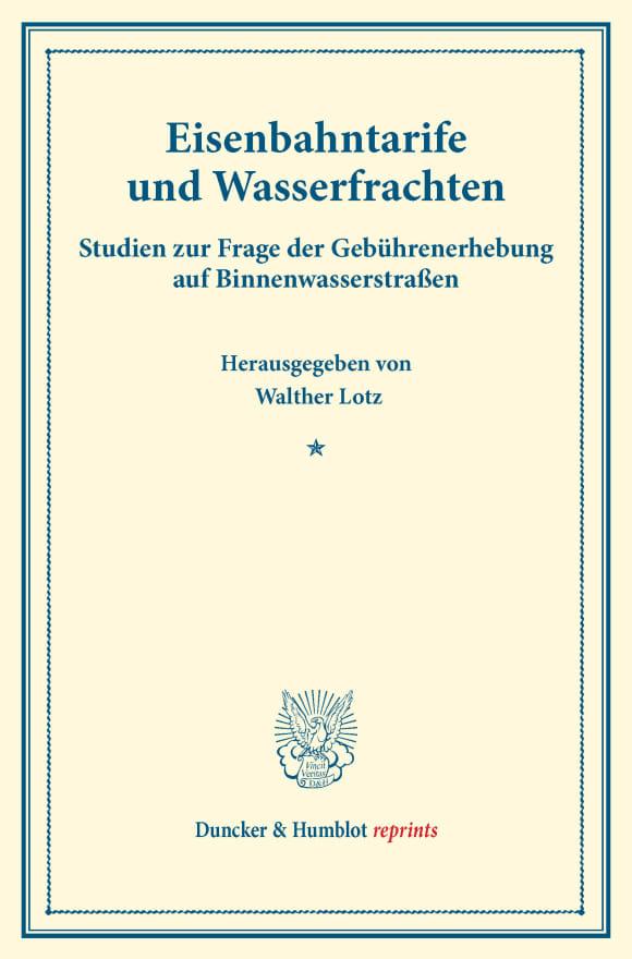 Cover Eisenbahntarife und Wasserfrachten