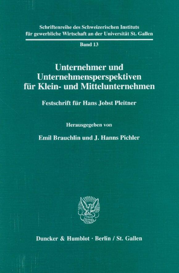 Cover Schriftenreihe des Schweizerischen Instituts für Klein- und Mittelunternehmen an der Universität St. Gallen (SGW)