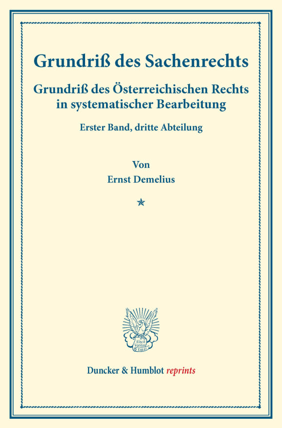 Cover Grundriß des Sachenrechts