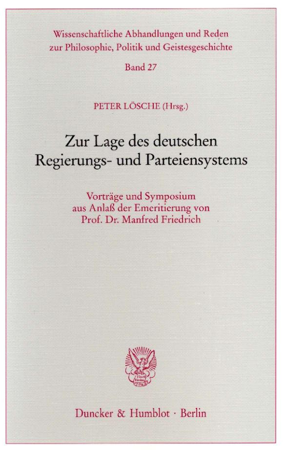 Cover Zur Lage des deutschen Regierungs- und Parteiensystems