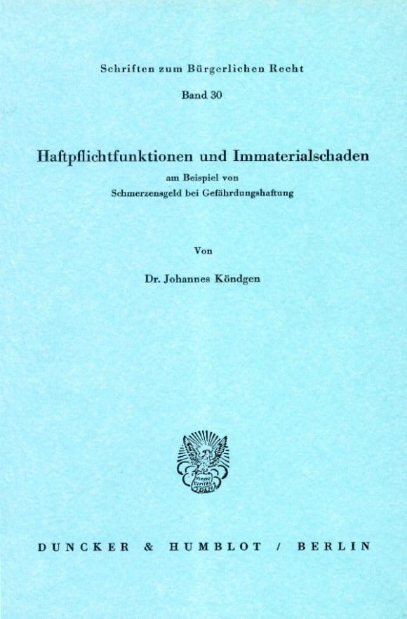 Cover Haftpflichtfunktionen und Immaterialschaden am Beispiel von Schmerzensgeld bei Gefährdungshaftung
