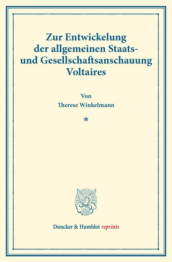Cover Zur Entwickelung der allgemeinen Staats- und Gesellschaftsanschauung Voltaires