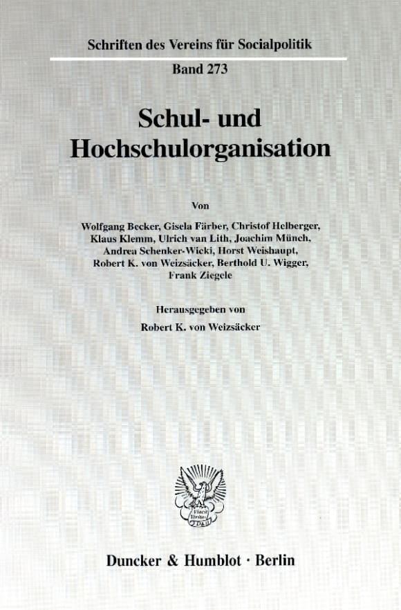 Cover Schul- und Hochschulorganisation
