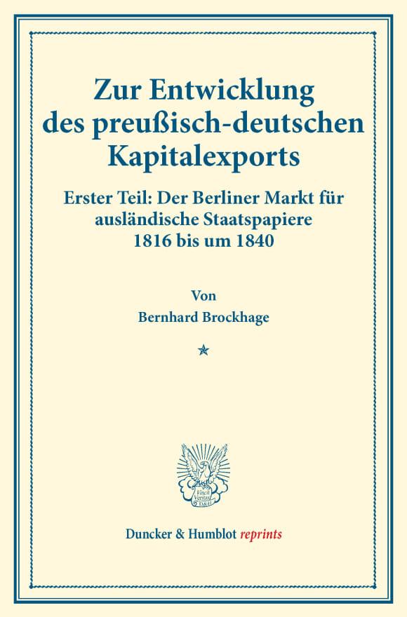 Cover Zur Entwicklung des preußisch-deutschen Kapitalexports