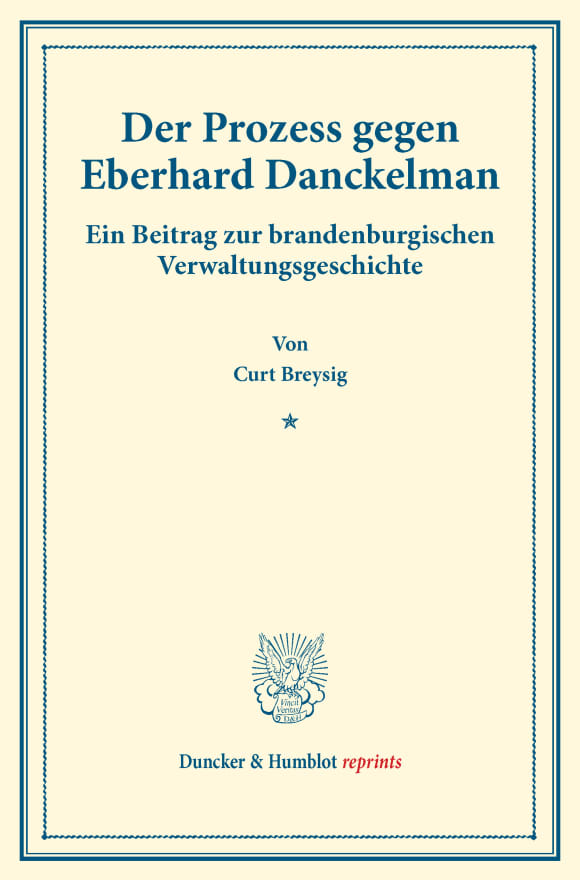 Cover Der Prozess gegen Eberhard Danckelman