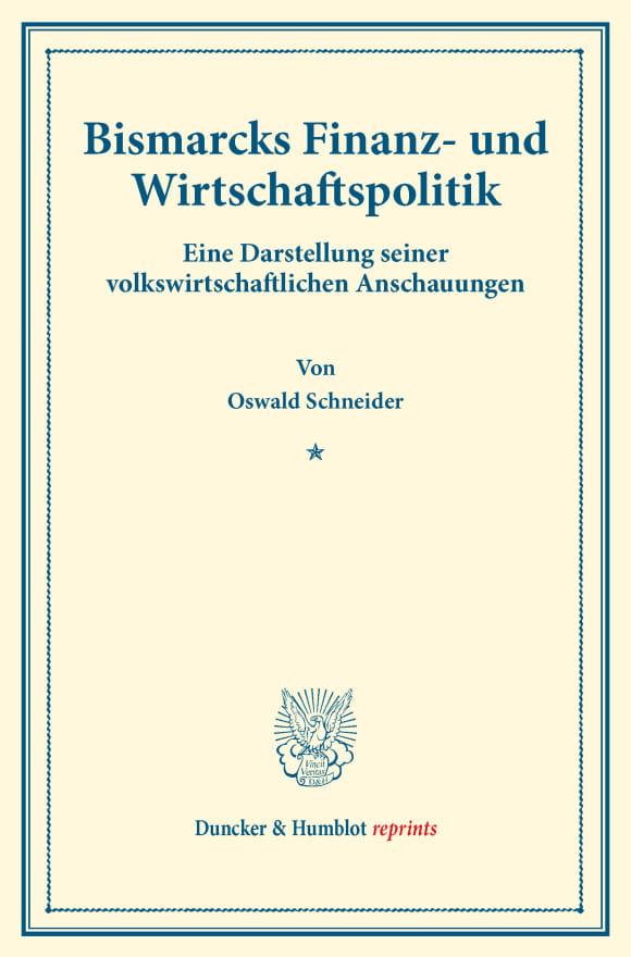 Cover Bismarcks Finanz- und Wirtschaftspolitik