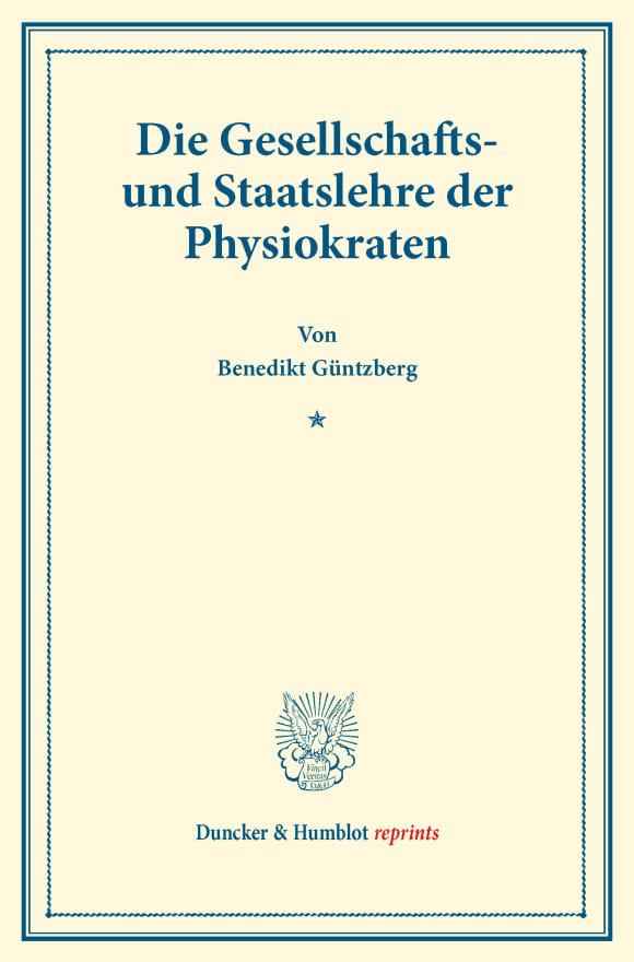 Cover Die Gesellschafts- und Staatslehre der Physiokraten
