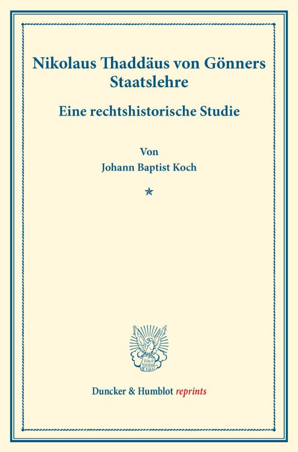 Cover Nikolaus Thaddäus von Gönners Staatslehre
