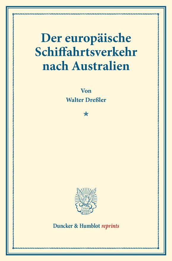 Cover Der europäische Schiffahrtsverkehr nach Australien