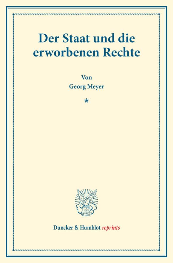 Cover Der Staat und die erworbenen Rechte