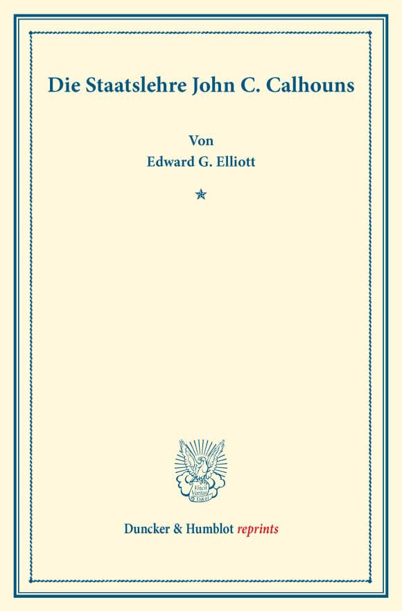 Cover Die Staatslehre John C. Calhouns
