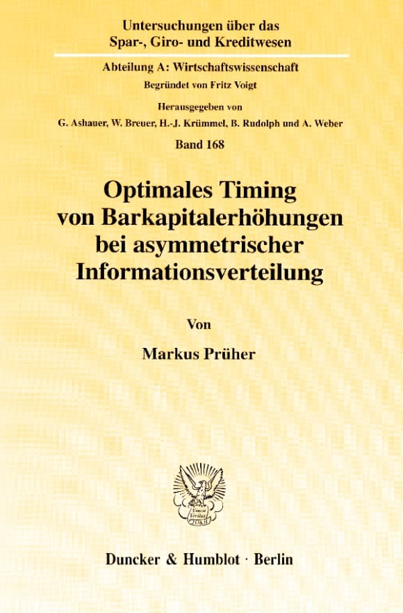 Cover Optimales Timing von Barkapitalerhöhungen bei asymmetrischer Informationsverteilung