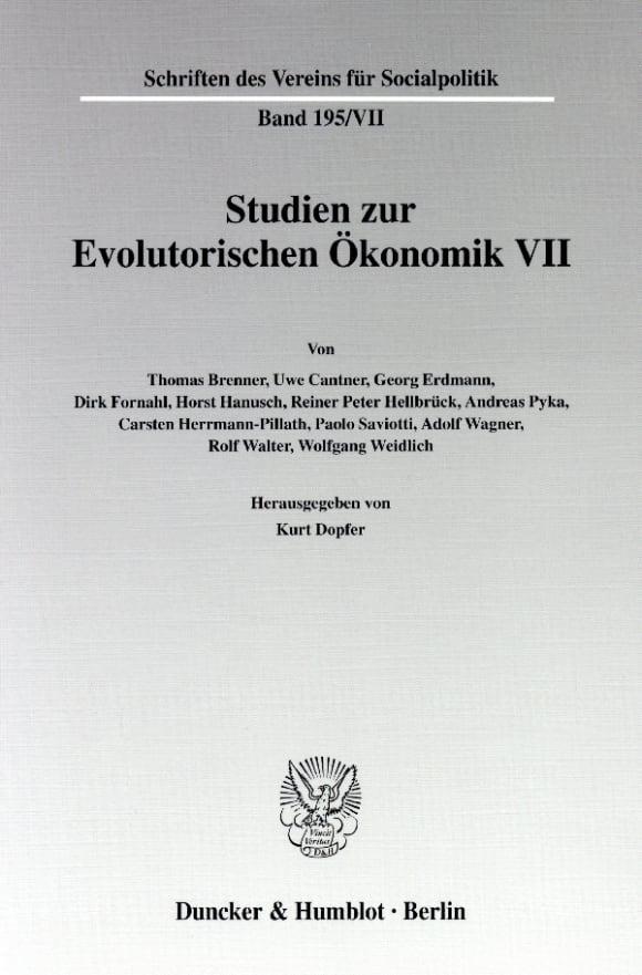 Cover Studien zur Evolutorischen Ökonomik VII