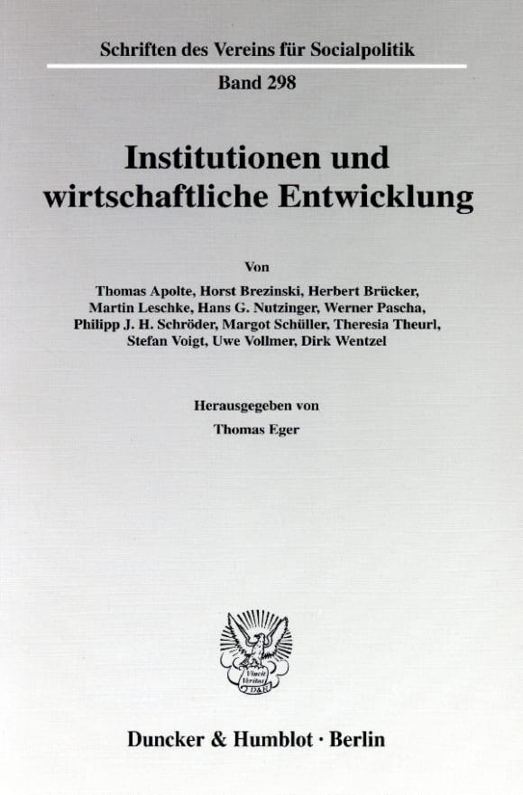 Cover Institutionen und wirtschaftliche Entwicklung