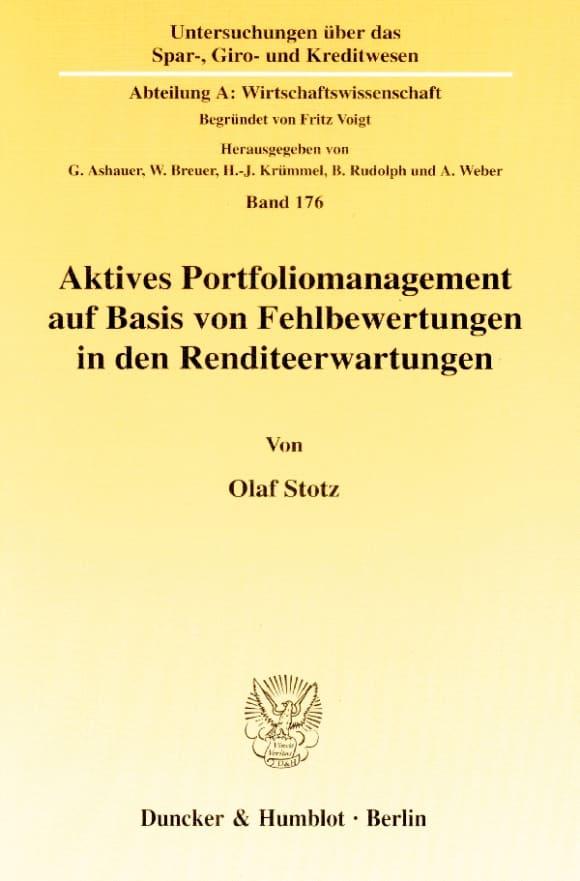 Cover Aktives Portfoliomanagement auf Basis von Fehlbewertungen in den Renditeerwartungen