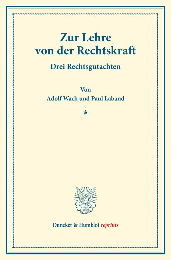 Cover Zur Lehre von der Rechtskraft