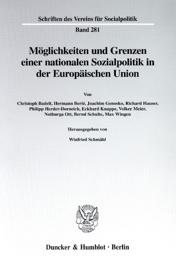 Cover Möglichkeiten und Grenzen einer nationalen Sozialpolitik in der Europäischen Union