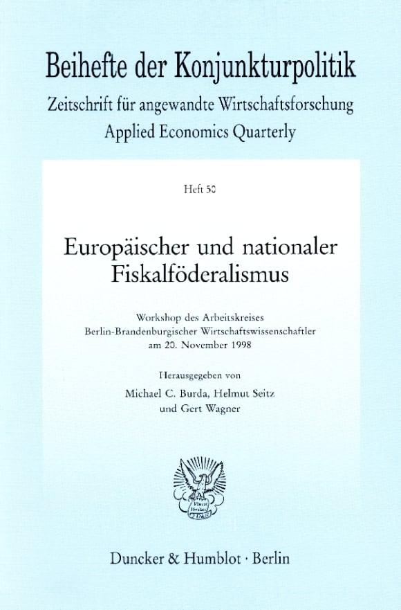 Cover Europäischer und nationaler Fiskalföderalismus