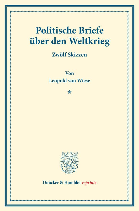 Cover Politische Briefe über den Weltkrieg