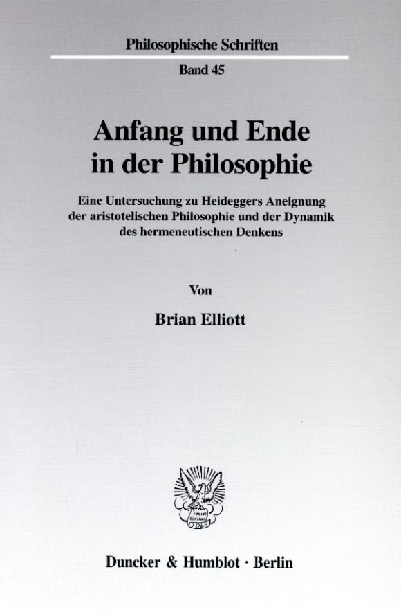 Cover Anfang und Ende in der Philosophie