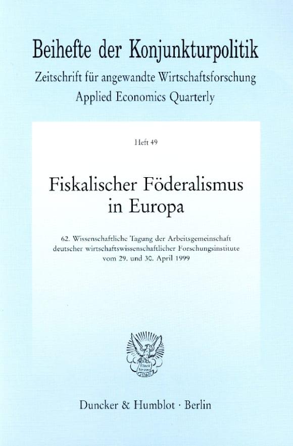 Cover Fiskalischer Föderalismus in Europa