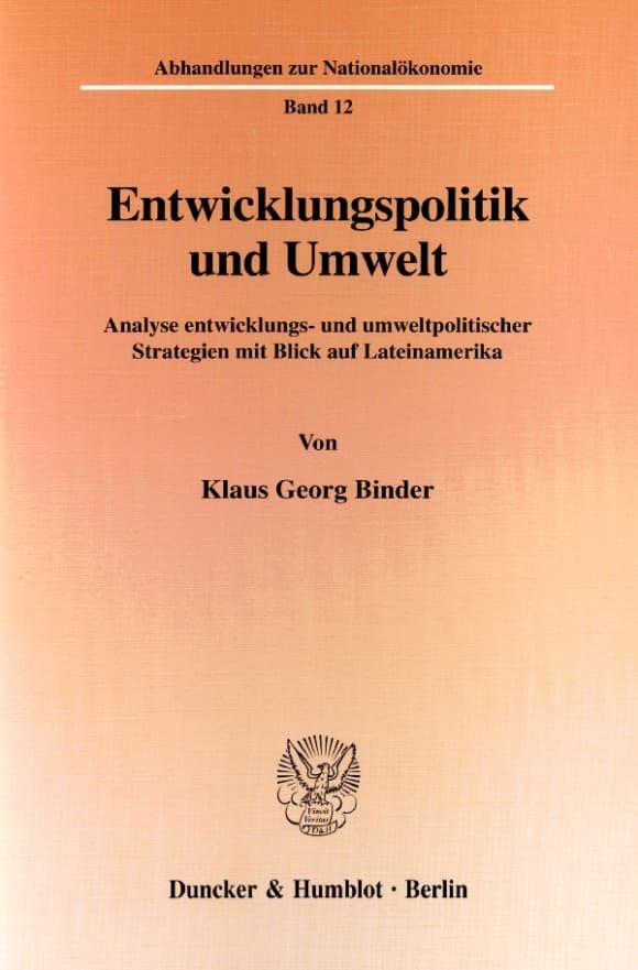 Cover Entwicklungspolitik und Umwelt
