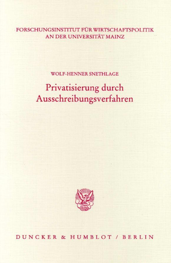 Cover Privatisierung durch Ausschreibungsverfahren