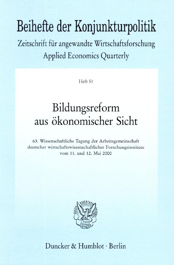 Cover Bildungsreform aus ökonomischer Sicht