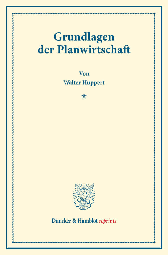 Cover Grundlagen der Planwirtschaft