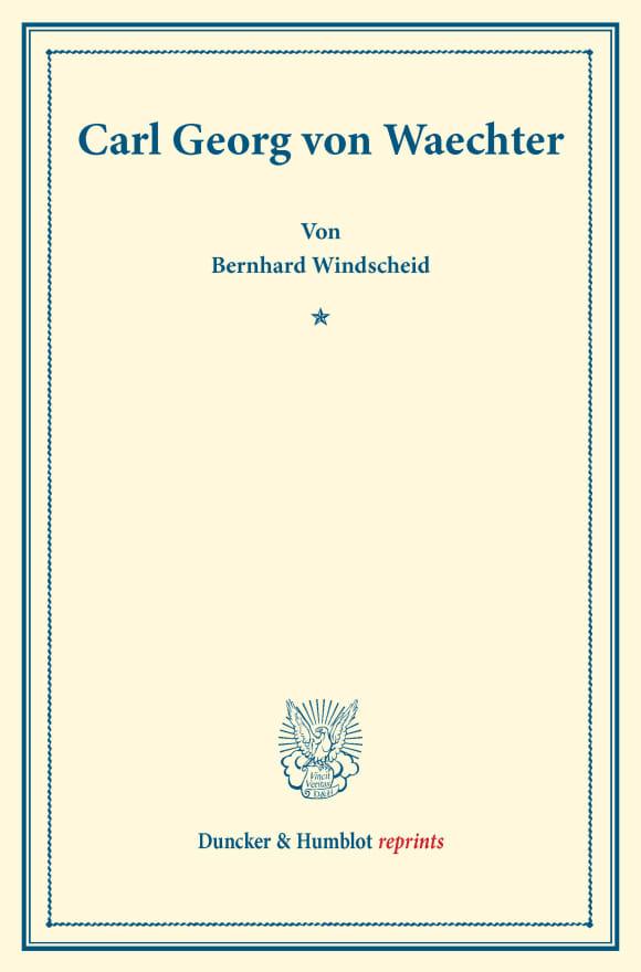 Cover Carl Georg von Waechter