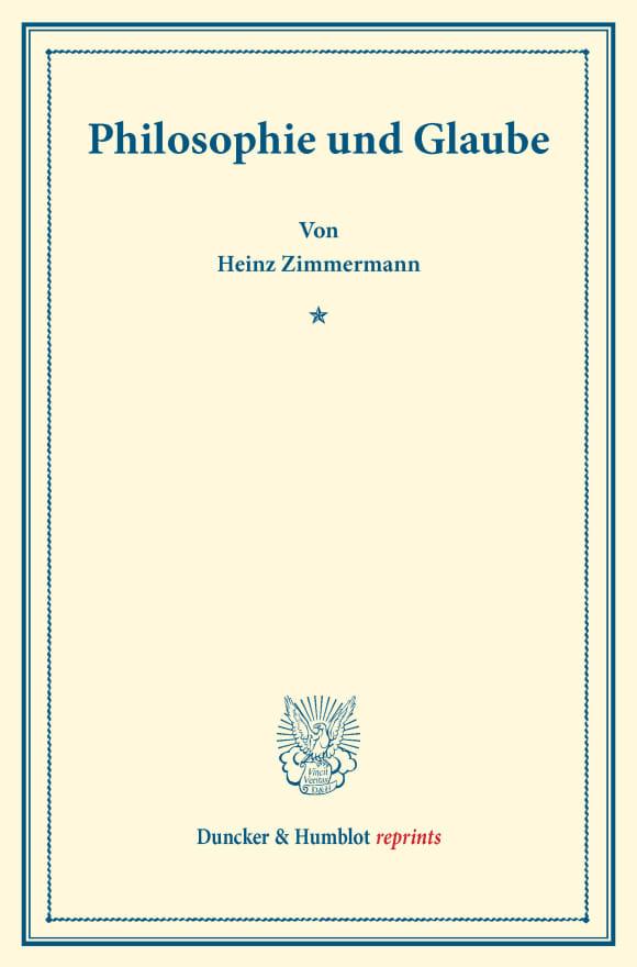 Cover Philosophie und Glaube